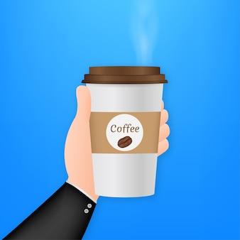 Wegwerp koffiekopje in de hand. vector voorraad illustratie.