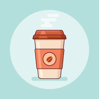 Wegwerp koffiekopje in platte lijnstijl