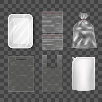 Wegwerp plastic zakpakket ingesteld op transparante achtergrondfoliezakverpakking met deksel doy, plastic voedselcontainer en zak. leeg ontwerp mock-up vectorillustratie