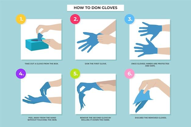 Wegwerphandschoenen aantrekken en verwijderen van infographic