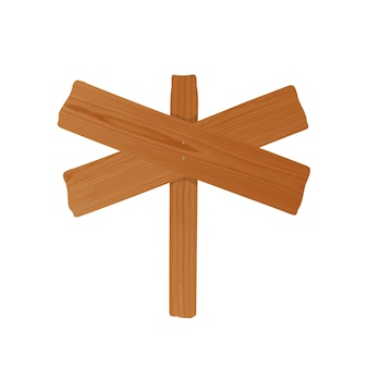 Wegwijzer of reclamebord gemaakt van een paar gekruiste ruwe houten planken en aan elkaar genagelde paal. leeg ongehoord uithangbord dat op witte achtergrond wordt geïsoleerd. cartoon ontwerpelement. kleurrijke illustratie.