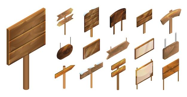 Wegwijzer pictogramserie. de isometrische reeks van voorziet vectorpictogrammen voor webontwerp van wegwijzers op witte achtergrond wordt geïsoleerd die