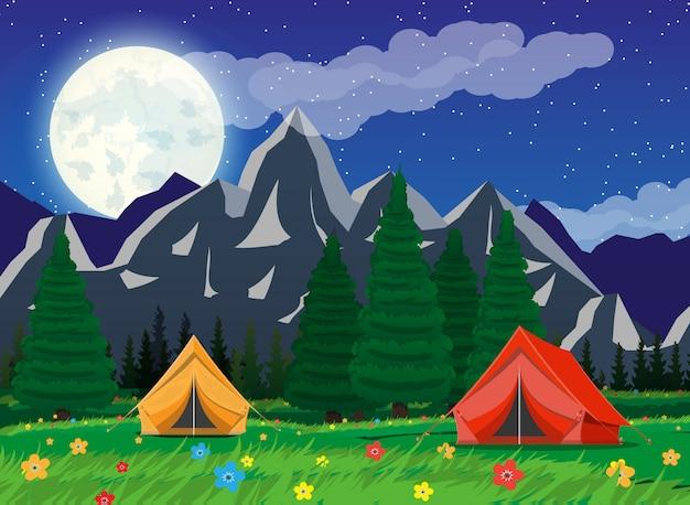 Weide met gras en kamperen.