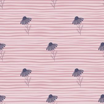 Weide naadloos patroon met eenvoudige paarse madeliefjebloemenvormen