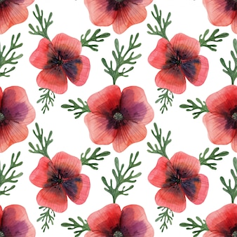 Weide rode papaver naadloze patroon