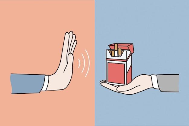 Weigering van het roken van sigarettenconcept. menselijke hand zegt nee, weigering zucht van blok sigaretten en roken vectorillustratie