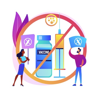 Weigering van vaccinatie abstracte concept illustratie. risico van weigering van vaccininjectie, toepassing, verplichte immunisatie, aarzeling bij vaccinatie, redenen om abstracte metafoor te weigeren.
