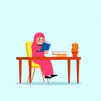 Weinig arabische hijab girl reading book cartoon