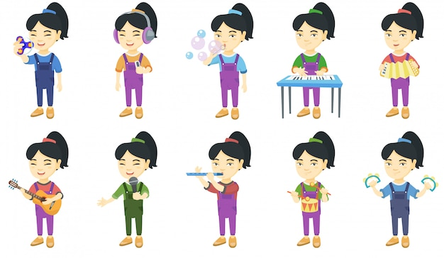 Weinig aziatisch meisje tekenset