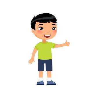 Weinig aziatische jongen die duimen op gebaar toont. gelukkig schattig kind. glimlachend peuter, preteen kind stripfiguur