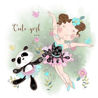 Weinig ballerina dansen met panda ballerina