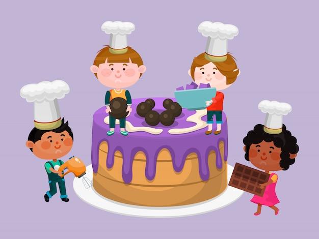 Weinig chef-kok en grote cakeillustratie. gelukkige jonge geitjeschef-koks die cupcakes koken.