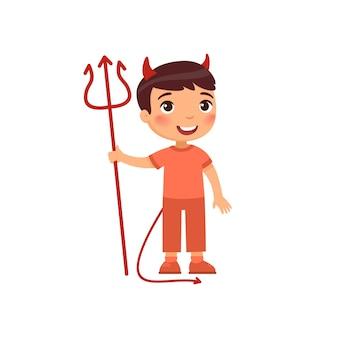 Weinig jongen die de illustratie van het duivelskostuum draagt