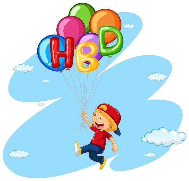 Weinig jongen die met ballons vliegt Premium Vector