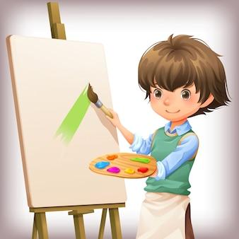 Weinig jongen het schilderen de vectorillustratie van het karakterontwerp