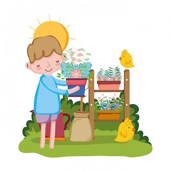 Weinig jongen houseplant met kuiken opheffen