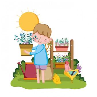 Weinig jongen houseplant met plank en haan opheffen