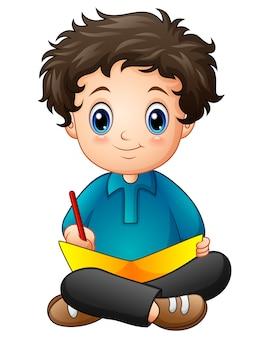 Weinig jongensbeeldverhaal dat een boek schrijft