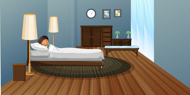 Weinig jongensslaap in slaapkamer