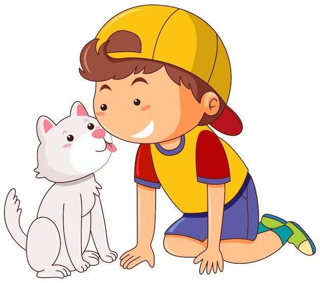 Weinig kat die het gezicht van de jongen likken