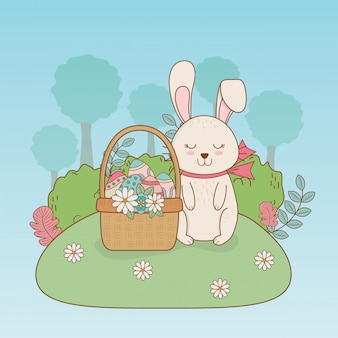 Weinig konijn met mand pasen-karakter