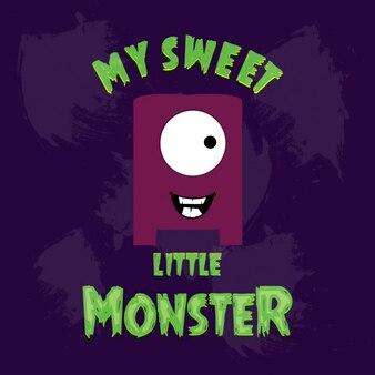 Weinig monster op paarse achtergrond