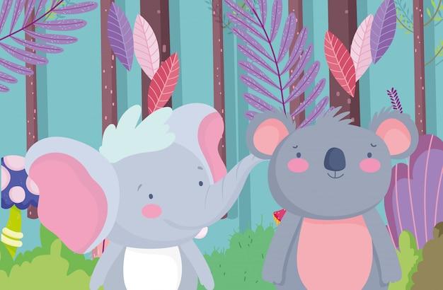 Weinig olifant en koala cartoon karakter bos gebladerte natuur