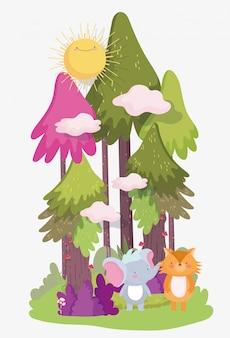Weinig olifant en vos cartoon karakter bos gebladerte natuur