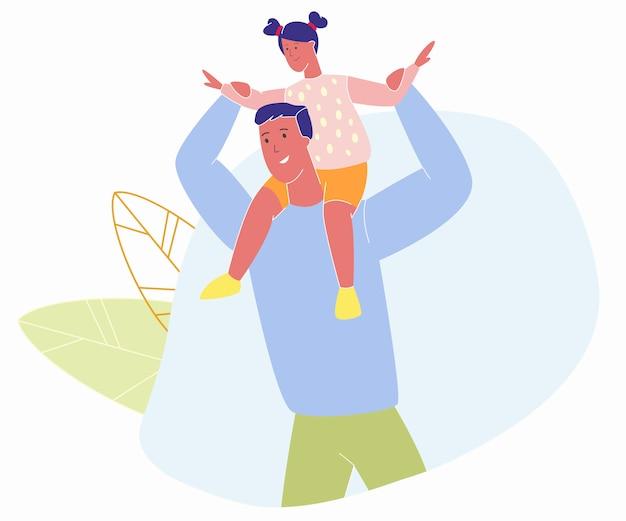 Weinig vrolijk meisje zittend op papa schouders
