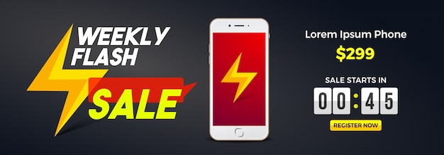 Wekelijks flash verkoop social media banner design.