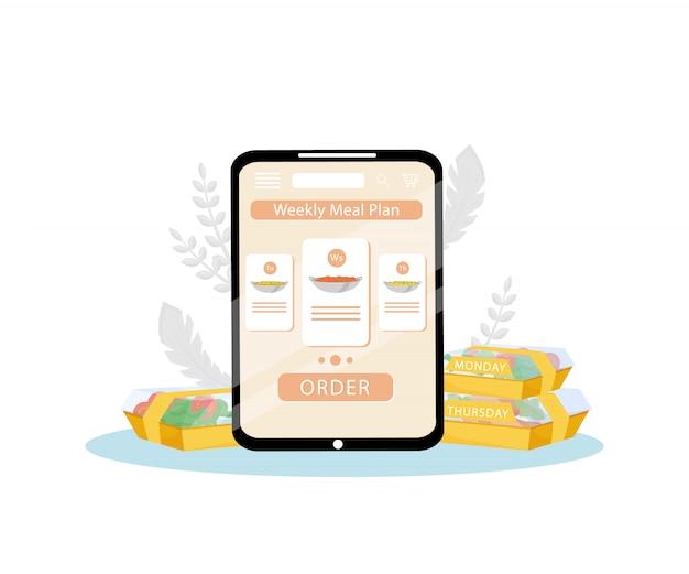 Wekelijks maaltijdplan bestel mobiele app