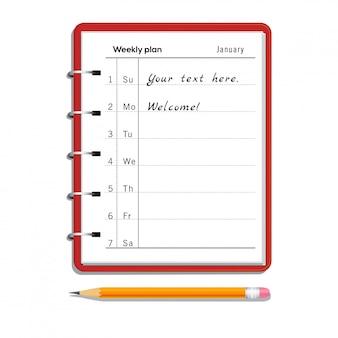 Wekelijks ontwerpersnotitieboekje met tekst en potlood met gom die op wit wordt geïsoleerd
