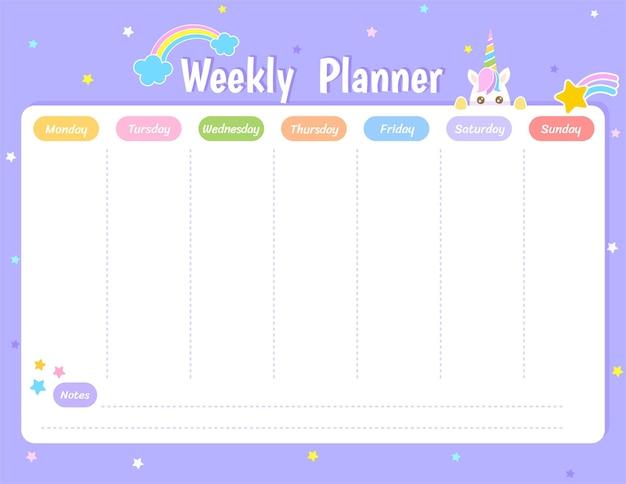 Wekelijks planner schema ontwerp met schattige eenhoorn en regenboog op paarse pastel achtergrond.