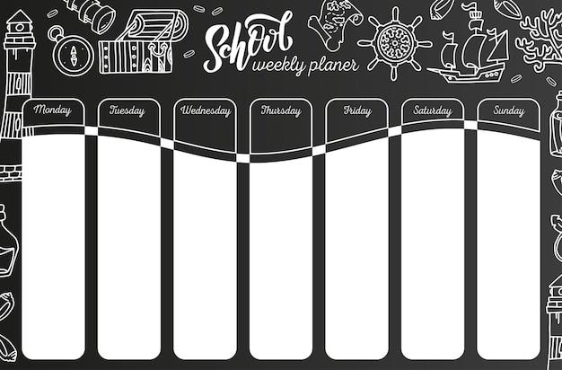Wekelijkse kalender op schoolbord. 7 dagenplan op zwart bord. school rooster