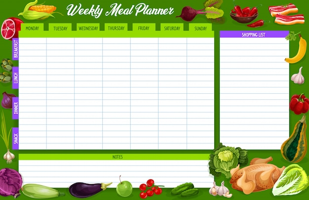 Wekelijkse maaltijdplanner, dagboek voor voedingsweekplanning