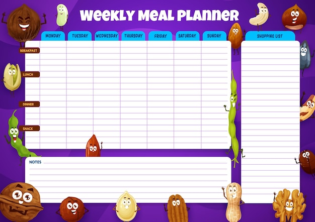 Wekelijkse maaltijdplanner, weekvoedselplan met grappige noten en bonen.