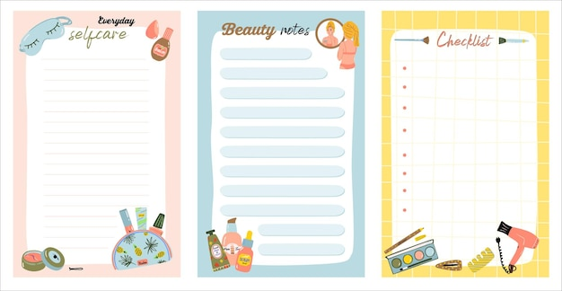 Wekelijkse of dagelijkse notitiekaarten met alledaagse cosmetische ingrepen