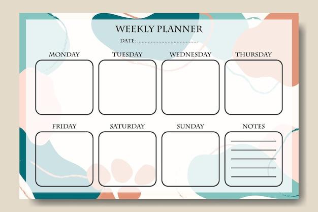 Wekelijkse planner abstracte pastelvorm afdrukbare premium vector