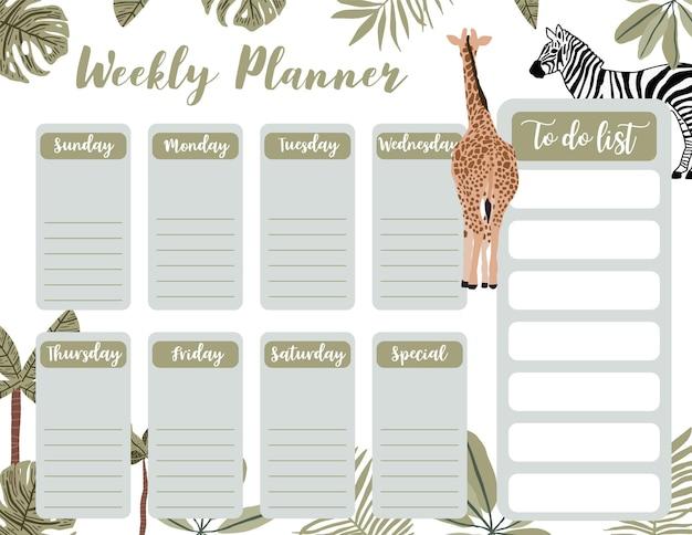 Wekelijkse planner begint op zondag met safari, takenlijst die wordt gebruikt voor horizontaal digitaal en afdrukbaar a4 a5-formaat