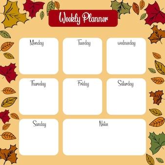 Wekelijkse planner herfst thema