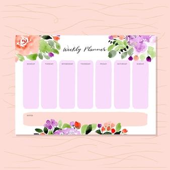 Wekelijkse planner met bloemen aquarel achtergrond