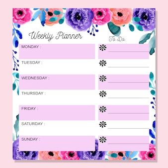 Wekelijkse planner met kleurrijke aquarel bloemen