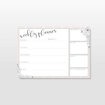 Wekelijkse planner met lijntekeningenbloemen