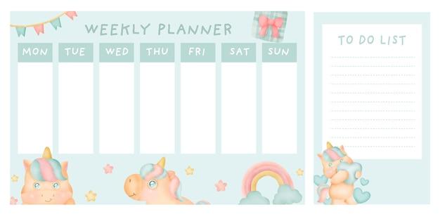 Wekelijkse planner met schattige eenhoorn.