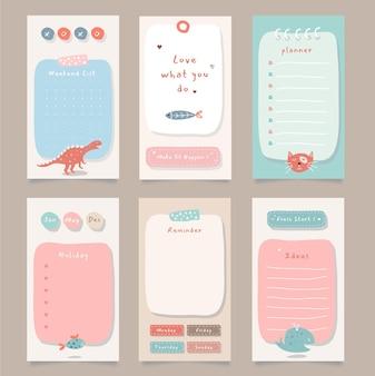 Wekelijkse planner met schattige illustratie dierenthema-afbeelding voor journaling, sticker en plakboek.