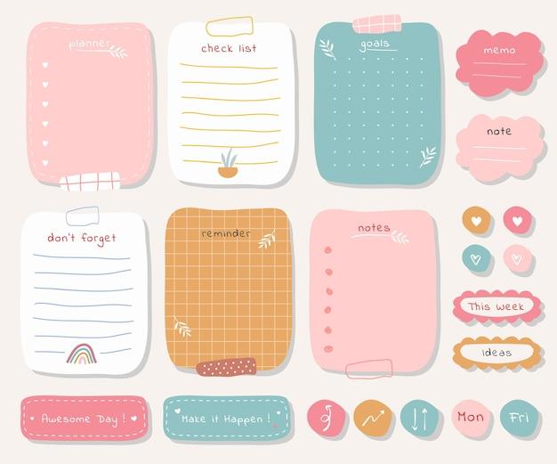 Wekelijkse planner met schattige illustratie pastel thema-afbeelding voor journaling, sticker en plakboek.