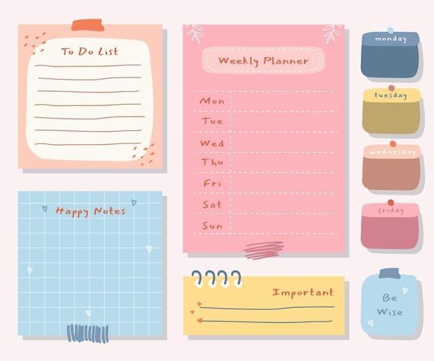 Wekelijkse planner met schattige illustratie pastel thema-afbeelding voor journaling, sticker en plakboek. Premium Vector