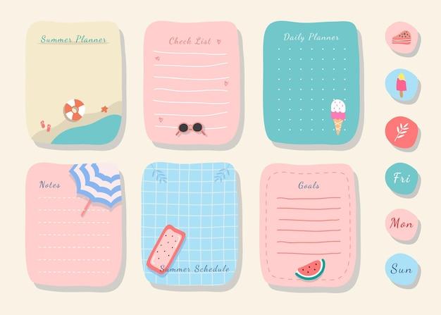 Wekelijkse planner met schattige illustratie zomerthema afbeelding voor journaling, sticker en plakboek.