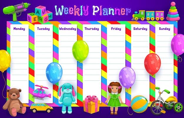 Wekelijkse planner of tijdschema schemasjabloon met kinderspeelgoed. dagelijkse organisator, takenlijst, agenda en doelen, dagboek, notitie en takenherinnering met bal, pop en ballonnen, cadeau, auto en trein