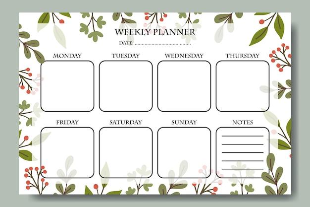 Wekelijkse planner sjabloon met handgetekende groene blad afbeelding achtergrond afdrukbare